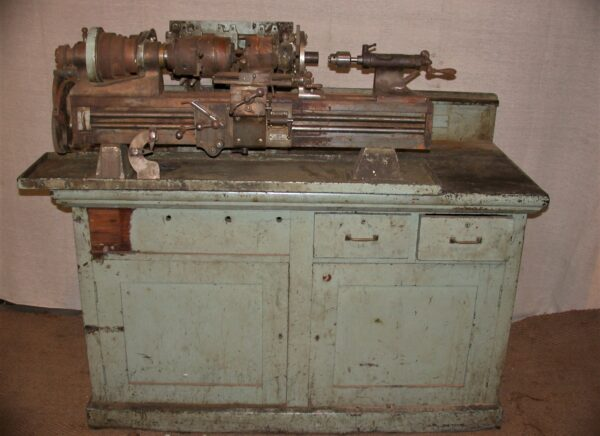 Rivett 608 Centre Lathe with Original Oak Cabinet Stand & Drive Unit. 80212798