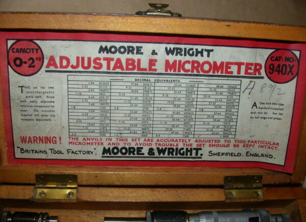 "Moore & Wright 0 - 2"" Adjustable Micrometer, Cat No 940X, 80212802"